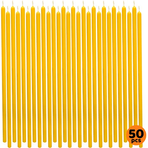 50 pcs 8' Yellow Thin-Taper Candles 100% Pure Beeswax Handmade - Natural Scent with Cotton Wick, Dripless, Smokeless, Non Toxic - for Dinner, Birthday Cake, Church, Hanukkah, Christmas