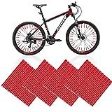 48 piezas reflectantes para radios de bicicleta, reflectores de 360°, reflectores rojos, para niños, adultos, bicicleta de montaña, todoterreno, color rojo