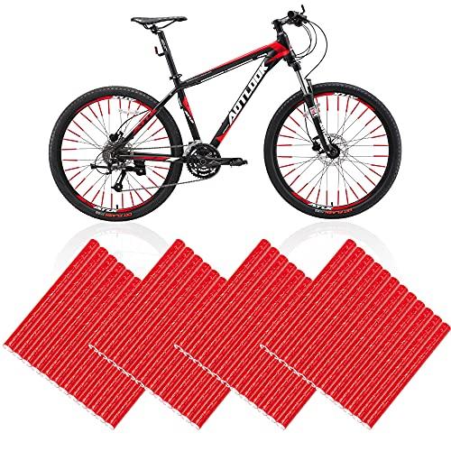 Reflektierende Fahrradspeichen, 48 Stück Fahrrad Speichenreflektoren 360°Sichtbarkeit Speichen Reflektor Rot Fahrrad Warnung Streifen für Kinder Erwachsene Fahrrad Mountainbikes Offroad Bikes, Rot