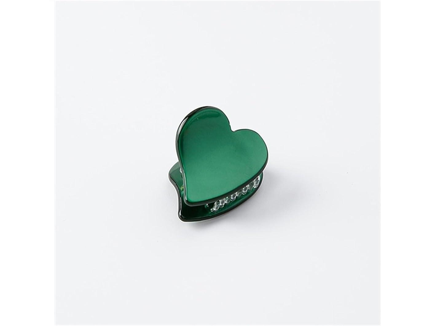 くちばし申請中うまOsize 美しいスタイル ラブハート型ミニ爪クリップミニジョークリップヘアアクセサリー(ダークグリーン)