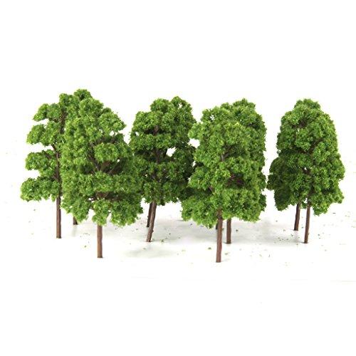 Lot de 20pcs Abies Holophylla Arbre Modèle Paysage de Modélisme Ferroviaire Echelle 1/150 Vert Clair