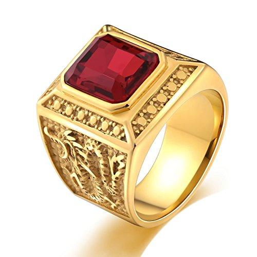 Adokiss Hombre acero inoxidable cuadrada rojo Cubic Zirconia