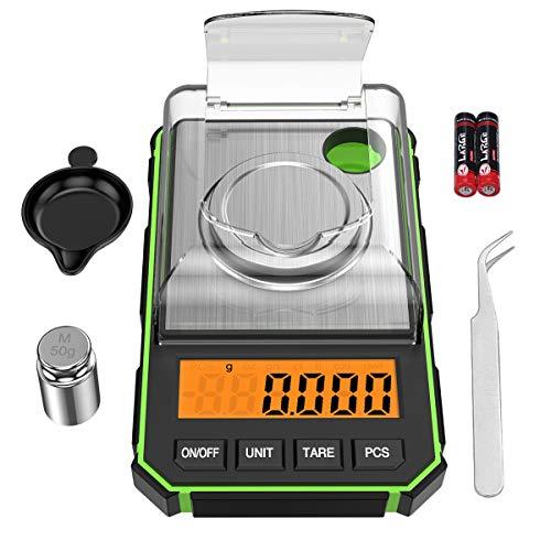 ORIA Feinwaage 0.001g, Digitale Milligramm Waage 50g / 0.001g, Digitale Taschenwaage mit LCD-Anzeige, Lab Digitale Waage, Tragbare Mini-Waage mit Wiegeschale, Kalibriergewichten und Pinzette - Grün