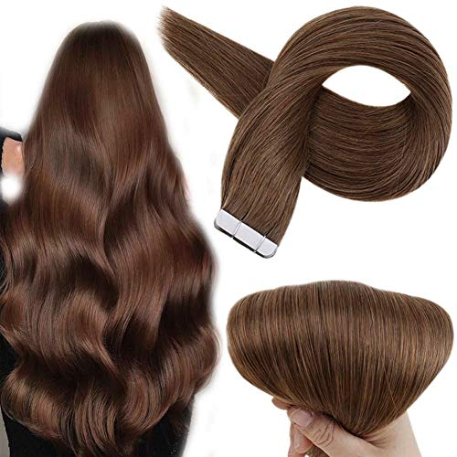 Full Shine 20 Inch Pu Tape in Hair Extensions Remy Human Hair Extensions Color 10 Golden Brown Seamless PU Human Hair Extension, Seamless Tape in Skin Weft 50 Grams 20 Pcs