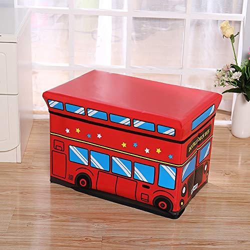 WOLF ES opvouwbare opbergbox voor de borst met schuimstof zitkussen, wasbaar, voeteneinde van imitatieleer, 50 x 31 x 30 cm