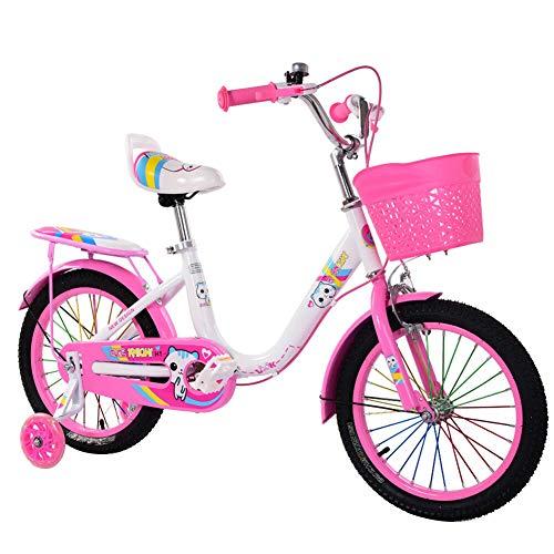 Qiekenao Süßes Fahrrad für Kinder mit Glockenkorb, Sicherheitsstabilisator, Doppelbremssystem, Kinderfahrrad