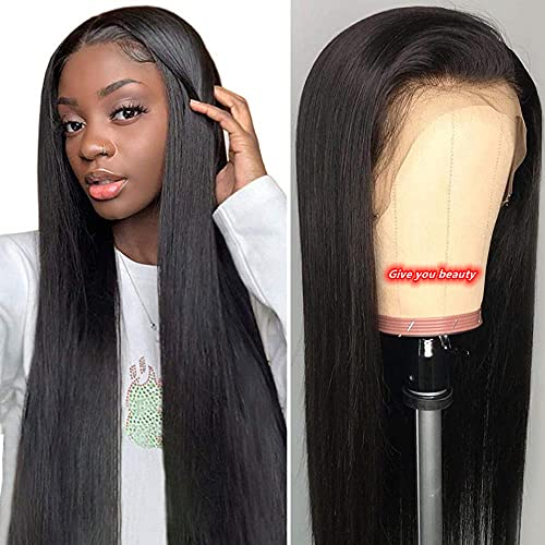 FELICIA Hair 13x4 Lace Front Human Hair Wigs Straight Wigs Brazilian Virgin Human Hair 150% Density Pre plucked Brazilian Human Hair Lace Wigs with Baby Hair For Woman (30 inch, Natural color)