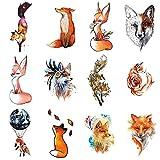 WYUEN 12 piezas/lote de tatuajes temporales de zorro para mujeres hombres moda arte corporal adultos impermeable tatuaje falso mano 9,8 x 6 cm W12-02