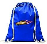 Turnbeutel 'Klassik Hotrod mit roten Flammen America Amy USA Auto Car Luxus Breitbau V8 V12 Motor Felge Tuning Mustang Cobra' mit Kordel - 100% Baumwolle- Gymbag- Rucksack- Sportbeutel