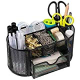 Desk Organizer, Wellerly Office Supplies Pen Holder Organizers Multi-Functional Mesh Desk Organization Storage with 8 Compartments and 1 Drawer Stationery Caddy Oval for Office School Home Supply