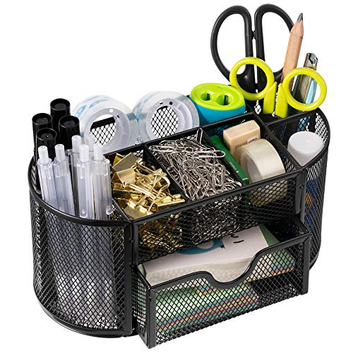 Desk Organizer, Pencil Holder, Wellerly Marker Pen Holder Desk Mesh Organizer with 9 Compartments Multi-Functional Stationery Caddy Mesh Oval for Office School Home - Black