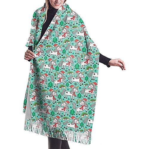 Elaine-Shop Vacanze di Natale Unni-ccorn Rainbow Tree Doodle On Mint Er Scialle Avvolgere Sciarpa calda invernale Cape Sciarpa in cashmere Avvolgere