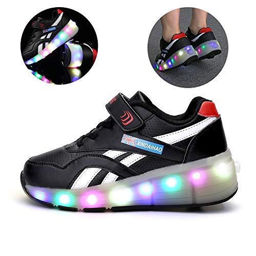 LED Chaussures à Roulettes De Skateboard USB Rechargeable 7 Couleurs Clignotantes Chaussure Avec Rouleau Multisports Automatiques Rétractables Baskets Mode, Taille (28-40)Black ~ Single wheel-38