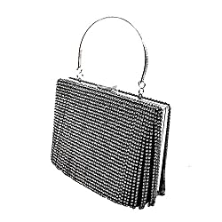 Black & White Rhinestomes Handbag Clutch