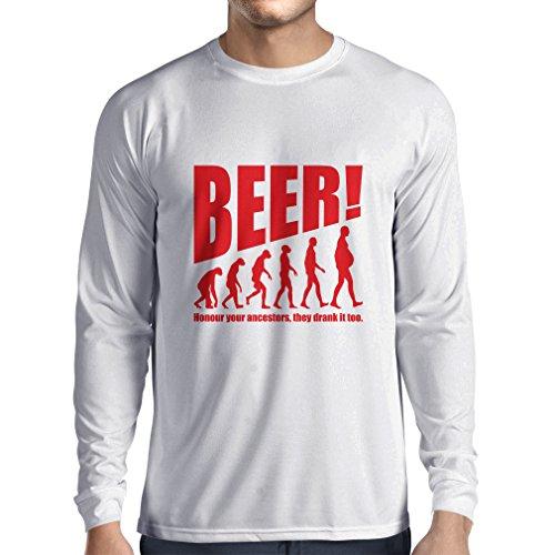 Camiseta de Manga Larga para Hombre The Beervolution - Ideas Divertidas únicas sarcásticas del Regalo para los Amantes de la Cerveza, evolución de consumición (X-Large Blanco Rojo)