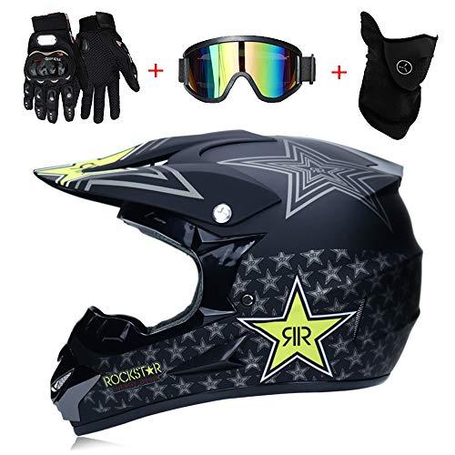 LTongx Motos Motocross Cascos y Guantes y Gafas estándar para niños ATV Quad...
