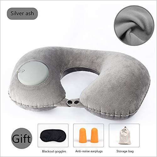 FSX Auto Inflatable U-Kissen Erwachsene Reisen mit dem Auto Portable Press Blow Neck Massage Kissen,Gray