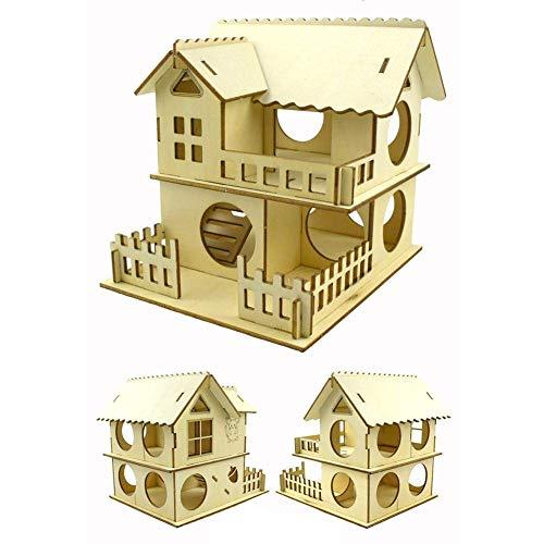 LIUCHANG Casa de Mascotas Hamster Casa, Hamster Casa de Madera Doble escondite Hut Escaleras for Mascotas Tunnel Toy Playground for pequeña Mascota liuchang20 (Size : B)