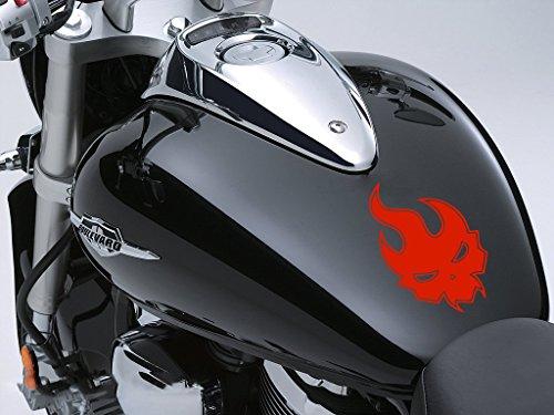 Evil flamme Moto Réservoir à carburant Sticker voiture en 100 mm x 160 mm – rouge