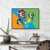 Chicas Superpoderosas DIY Pintura por números Pintura por Números Adultos Niños Relajación de la Vida doméstica. con 3 Pinceles y Colores Brillantes16x20 (40x50cm)