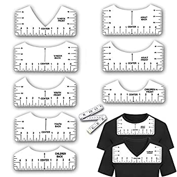 9 Pcs T-Shirt Rulers T Shirt Alignment Guide Tools for Vinyl and Sublimation Tshirt Measurement Ruler Tool for Making Fashion Center Design