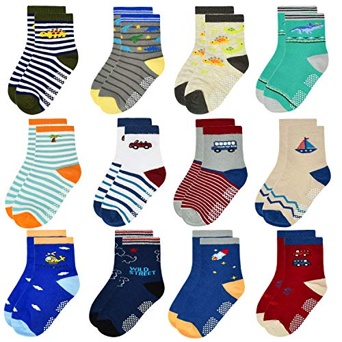 Product Image of the 12 Pairs Toddler Non Skid Socks with Grips Anti Slip Bottom, Cotton Non Slip...