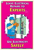TeachingNest | Leave Repairs to experts | English | 33x48 cm | Electrical Safety Poster | Industrial Safety Posters | Wall Sticking