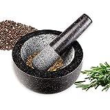 Schramm® Mörser mit Stößel - Set aus Granit anthrazit Mörser mit Schlegel aus Stein Mahlen von Gewürzen und Kräutern Gewürzmörser - 6