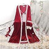 JJZXD Robe Damas Romántico Robe Set Mujeres Camisón Noche Vestido Dormido Ropa de Dormir La Novia Elegante Robe Vino Vintage Rojo Vintage (Size : Large)