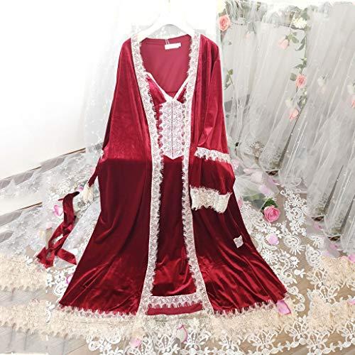 SMEJS Robe Damen Romantische Robe Set Frauen Nachthemd Winter Night Kleid Nachtwäsche Elegante Braut Robe Wein Rote Dressing Kleid Vintage (Size : Large)