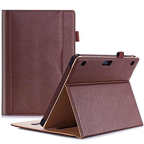 ProCase Custodia per Lenovo Tab 2 A10 - Custodia Stand Folio per Lenovo Tab 2 A10-70 Tablet 10 Pollici, con Angoli di Visuale Multipli, Tasca per Schede Documenti -Marrone
