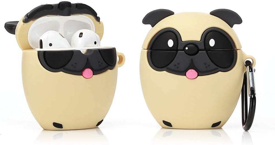 LEWOTE Airpods Silicona Divertida Funda Compatible con Apple Airpods 1 y 2 [Serie de Mascotas Animales] Niñas y Niños (Perro Bago)