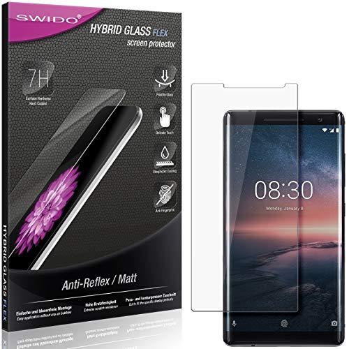 SWIDO Panzerglas Schutzfolie kompatibel mit Nokia 8 Sirocco Bildschirmschutz Folie & Glas = biegsames HYBRIDGLAS, splitterfrei, MATT, Anti-Reflex - entspiegelnd