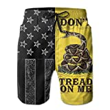 Mens Quick Dry Black America Flag Dont Tread On Me Board Shorts 3D Printed Beach Shorts Mesh Lining Shorts Leisure Cool Hawaiian Shorts with Pockets for Beach,Vacation,Swimming L