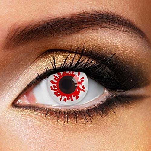 Partylens Farblinsen - Blood Drops Big - weiche Kontaktlinsen - Jahreslinsen mit Kontaktlinsenbehälter Jahreslinsen, Blut, BC 8.6 mm/DIA 14.5 mm / 0 Dioptrien
