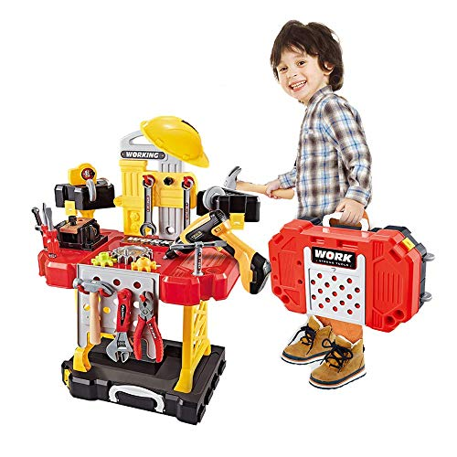 Kids Construction Toy Workbench for Toddlers, 100 Pieces Kids Power Workbench Construction Tool...