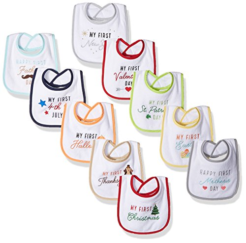 Hudson Baby Baby Cotton Terry Drooler Bibs with Fiber Filling, Neutral Holiday, One Size
