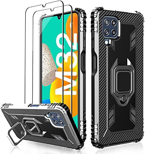 Milomdoi Funda para Samsung Galaxy M32, Carcasa Protectora de Silicona, Anillo Giratorio...
