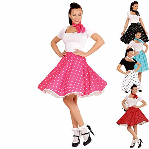 Amakando Swing Rock mit Halstuch 50er Tellerrock pink-weiß gepunktetes Rockabilly Outfit Rock'n'Roll Petticoat mit Polka Dots Faschingskostüm