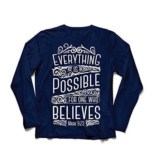 Camiseta de Manga Larga para Hombre Jesucristo: Todo es Posible para quien cree: religión Cristiana, fe, Biblia, Pascua, resurrección (Large Azul Multicolor)