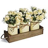 Centerpieces for Dining Room Table, Mason Jar Decorative Wood Tray with Artificial Rose Bouquet Flowers Rustic Farmhouse Home Decor for Coffee Table Living Room Kitchen Table Decor by TJ.MOREE - Beige