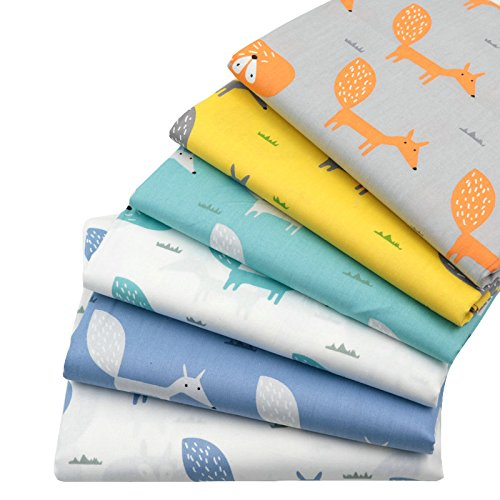 6pcs 15.7' x 19.7' Fox Prints 100% Cotton Fabric,Fat Quarters Bundle Sewing Supplies