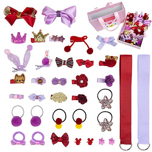 Comius Kinder Schleife und Haargummis Set, 36 Stücke Nette Baby Mädchen Kinder Haarbögen Haarclip für Kinder Geburtstagsgeschenk Kindertagsgeschenk ((Red + Purple))