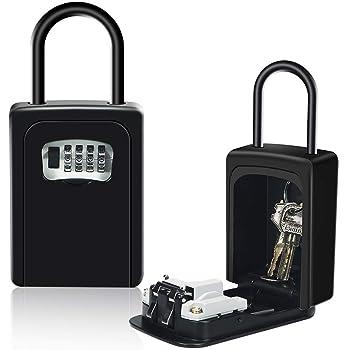 Caja de Cerradura con llave Montado en la Pared Clave Caja con Candado de 4 Dígitos Combinación de Bloqueo Exterior e Interior Seguridad llave Storage para Oficina de la escuela de Home (