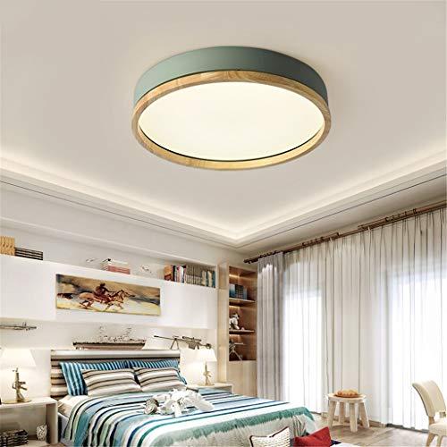 JINWELL Holz Deckenleuchte Weiß Runde Schlafzimmer Lampe Wohnzimmer Lampe Moderne Minimalistische Massivholz Schlafzimmer Deckenleuchte LED Runde Japanische Holz Lampe (Stufenloses Dimmen)