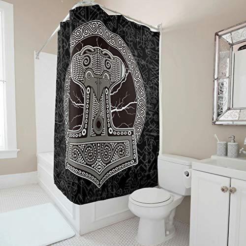 Firelife Wikinger Runen Hammer Duschvorhang Anti-Schimmel Wasserdicht Waschbar Polyester Stoff Duschvorhänge Badewannevorhänge mit Haken für Dusche