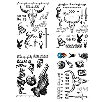 Halloween Face Tattoos Fake Face Neck Hands Arm Tattoos Tattoo Sticker Set for Halloween Costume Accessories and Parties 4-Sheet