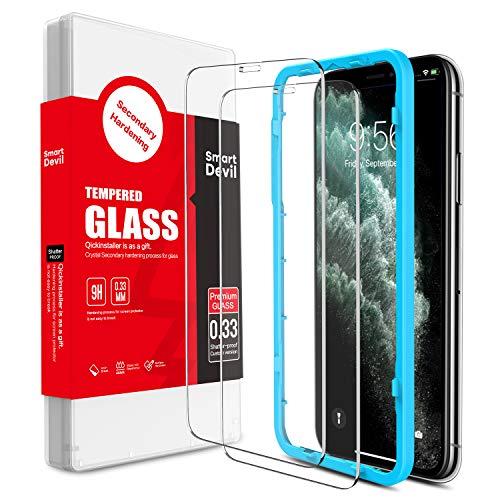SmartDevil [2 Pack] Protector Pantalla de iPhone 11 Pro/iPhone XS/X,Cristal Templado,Vidrio Templado [Fácil de Instalar] [Alta Definicion] [Garantía de por Vida] para iPhone 11 Pro/iPhone XS/X