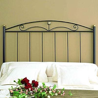 Cabecero de forja Negro Altura: 125 cm Profundidad: 4 cm Anchura: 95 cm Objetos de decoración no incluidos.