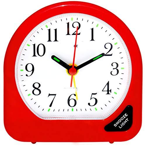 YULAN Reloj Despertador Mute Snooze Moderno y Hermoso Moderno Multifuncional Cama de Moda Personalidad Creativa Inicio 3 Color Opcional 75MM * 78MM (Color : Red)